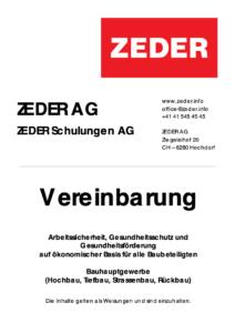 Vereinbarung ZEDER AG